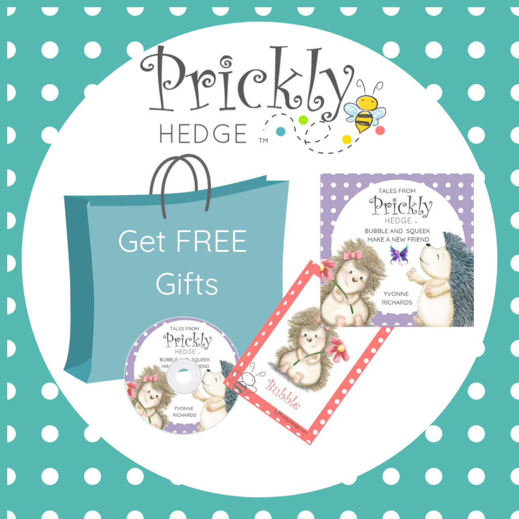 Goodie bag with book cover, CD cover and Bubble nursery print