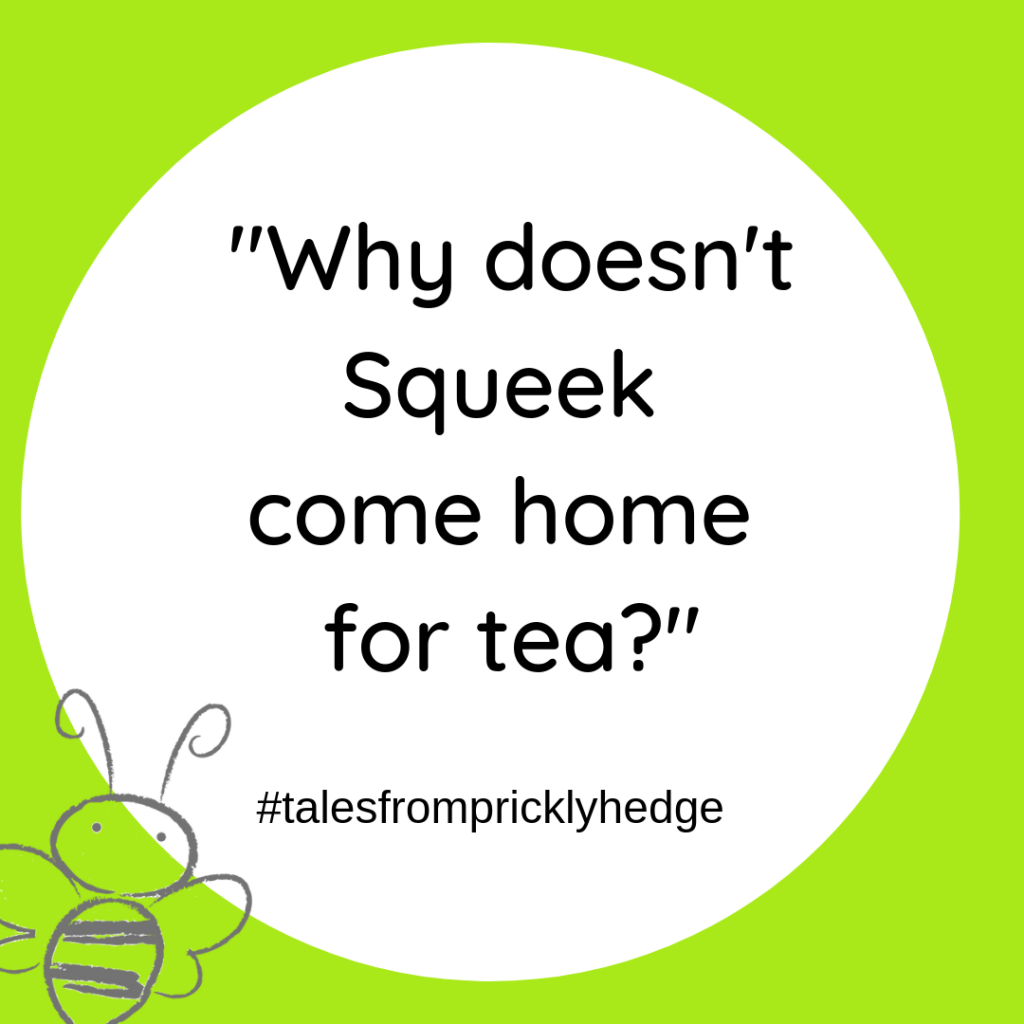"? ? ? BOOK QUOTES ""Why doesn't Squeek come home for tea?"" Who says this? #pricklyhedge #bookquotes #savewildlife"