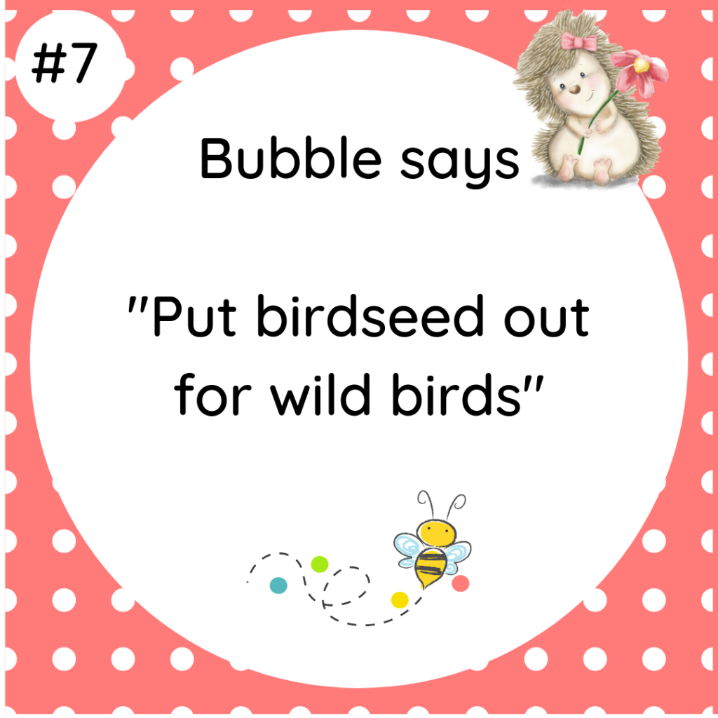Bubble says Put birdseed out for wild birds #wildlifetip7